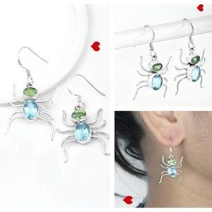 Blue Topaz & Peridot 925 Silver Earrings